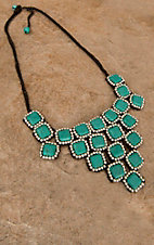 Pannee® Turquoise Square Stones w/ Silver Beads Brown Rope Necklace