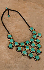 Pannee® Turquoise Square Stones w/ Gold Beads Brown Rope Necklace