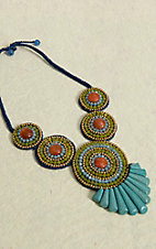 Pannee® Blue, Green, Orange and Gold Beads with Turquoise Stones & Blue Rope Tribal Necklace