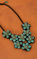 Pannee® Gold & Turquoise Stones Flower Brown Rope Necklace