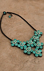 Pannee® Silver & Turquoise Stones Flower Brown Rope Necklace