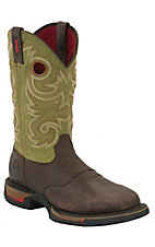 Rocky Long Range Men's Coffee Brown & Avocado Green Square Steel Toe Work Boots