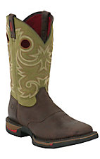 Rocky® Long Range™ Men's Coffee Brown w/ Avocado Green Square Non-Steel Toe Work Boot