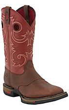 Rocky Long Range Mens Saddlehorn Brown & Cayenne Red Square Non-Steel Toe Work Boot