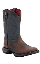 Rocky® Long Range™ Youth Dark Brown w/ Blue Top Square Toe Work Boots