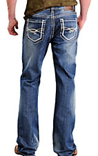 Rock & Roll Cowboy Medium Stonewash Double Barrel Relaxed Fit Boot Cut Jeans