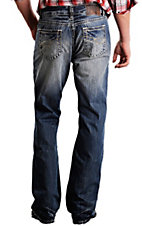 Rock & Roll Cowboy® Medium Stonewash Abstract Double Barrel Relaxed Fit Boot Cut Jeans