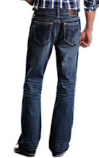 Rock & Roll Cowboy Dark Stonewash Double V Embroidery Double Barrel Relaxed Fit Boot Cut Jeans