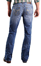 Rock & Roll Cowboy® Light Stonewash Double V Raised Denim Double Barrel Relaxed Fit Boot Cut Jeans
