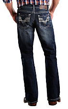 Rock & Roll Cowboy® Dark Stonewash Double Barrel Running Stitch V Relaxed Fit Boot Cut Jeans