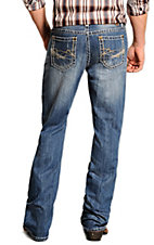 Rock & Roll Cowboy Medium Stonewash Double Barrel Abstract Embroidery Relaxed Fit Boot Cut Jeans