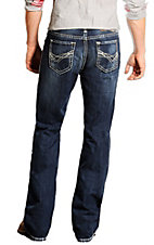 Rock & Roll Cowboy Dark Stonewash Double Barrel with Abstract V Stitch Relaxed Fit Boot Cut Jeans RRC555642