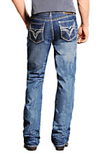Rock & Roll Cowboy Medium Stonewash Double Barrel Pieced V Relaxed Fit Boot Cut Jeans