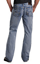 Rock & Roll Cowboy Light Stonewash Diamond Stitched Double Barrel Slim Fit Boot Cut Jeans