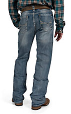Rock & Roll Cowboy Light Wash with Abstract Line Embroidery Pocket Double Barrel Relaxed Fit Boot Cut Jeans