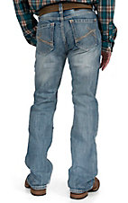 Rock & Roll Cowboy Light Wash with Curved Embroidery Pocket Double Barrel Relaxed Fit Boot Cut Jeans
