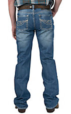 Rock & Roll Cowboy Medium Stonewash with Abstract Embroidery Pistol Slim Fit Boot Cut Jeans RRP769545