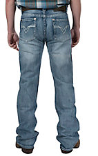 Rock & Roll Cowboy� Light Stonewash Stitched Flying V Pocket Pistol Slim Fit Boot Cut Jeans RRP769646