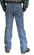 Rock & Roll Cowboy Light Wash Applique V Embroidery Pocket Double Barrel Relaxed Fit Straight Leg Jeans