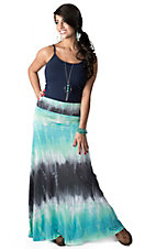Karlie® Women's Charcoal, Mint and Blue Tie-Dye Maxi Skirt