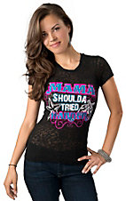 Rebel Rose® Junior's Black with Pink, Turquoise and White Mama Shoulda Tried Harder Burnout Short Sleeve Tee