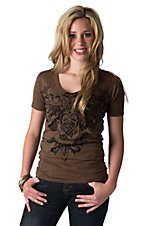 Sinful Women's Selena Brown with Black Burnout Winged Dagger Logo Short Sleeve Tee
