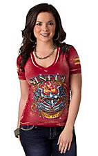 Sinful™ by Affliction® Women's Red Draw w/ Black Lace Short Sleeve V-Neck Tee