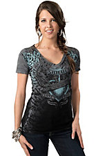 Sinful™ by Affliction® Women's Avarice Grey with Turquoise Crowned Winged Heart and Roses Short Sleeve Tee