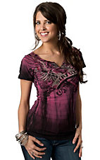 Sinful™ by Affliction® Women's Pink and Black Embellished Winged Heart Short Sleeve V-Neck Tee