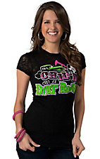 Rebel Rose® Junior's Black with Pink, Lime Green and White Chillin' on a Dirt Road Burnout Short Sleeve Tee