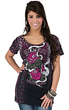 Sinful by Affliction Women's Black & Hot Pink Leopard Print Smoking Beauty Short Sleeve Tee