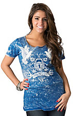 Sinful by Affliction Women's Locked Cobalt Blue and Light Blue Reversible Short Sleeve Tee