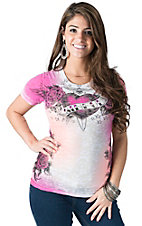 Sinful by Affliction Women's Sweet Escape White & Pink Skull Burnout Short Sleeve Tee