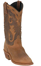 Sage® Ladies Tan Distressed Western Boot W/ Nubuck Accents