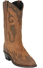 Sage® Ladies Chocolate Distressed Western Boot W/ Nubuck Accents