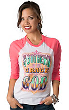 ATX Mafia® Women's White Southern By the Grace of God with 3/4 Neon Pink Sleeves Baseball Tee