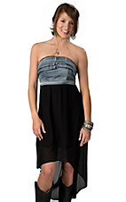Hot & Delicious® Women's Denim and Black Hi-Lo Strapless Dress