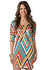 Hot & Delicious® Women's Multi Chevron Silky 3/4 Dolman Sleeve Dress