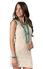 Hot & Delicious® Women's Ivory with Yarn Applique Sleeveless Dress