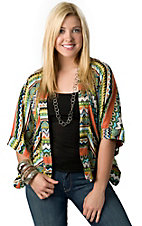 Hot & Delicious® Women's Green and Orange Aztec Striped 3/4 Cardigan Fashion Top