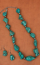 Cindy Smith Co® Turquoise Stone & Hematite Bead Jewelry Set SN4019