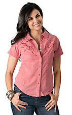 Silver River Women's Red & White Gingham Check Short Sleeve Western Shirt