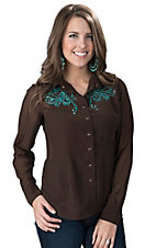Silver River Women's Chocolate Gerogette with Teal Embroidery Long Sleeve Shirt