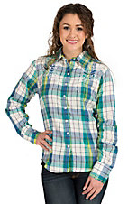 Silver River Women's Turquoise & Green Plaid Long Sleeve Western Shirt
