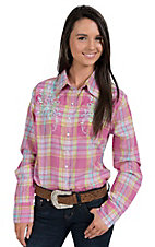 Silver River Women's Pink, Aqua & Lime Plaid Long Sleeve Western Shirt