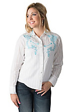 Silver River Women's White with Turquoise Embroidery & Crystals Long Sleeve Western Shirt