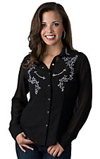 Silver River Women's Black Georgette with White Embroidery Long Sleeve Shirt
