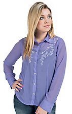 Silver River Women's Lilac Gerogette with White Embroidery Long Sleeve Shirt