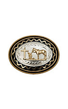 3-D Belt Company® Silver Praying Cowboy with Black & Gold Accents Oval Buckle