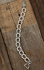 Silver Strike® Silver and Clear Rhinestone Horseshoe Stretch Bracelet